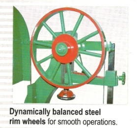 special features dynamically balanced wheel bandsaw machine Milson Wood Cutting Vertical Bandsaw Machine, Mumbai, India