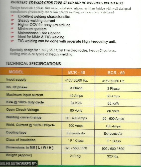 standard welding rectifier specifications Standard Welding Rectifiers And Thyristorised Welding Rectifier
