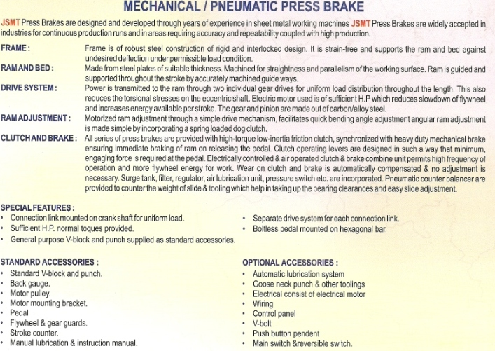mechanical press brake machine information Mechanical Press Brake Machine, Mumbai India