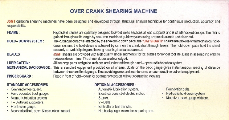 over crank shearing machine info Under Crank And Over Crank Shearing Machines, Mumbai India