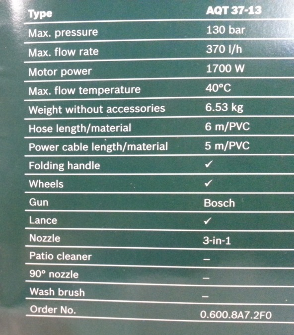 specifications bosch car washer 3 Portable Car Washer   BOSCH Brand, Mumbai, India